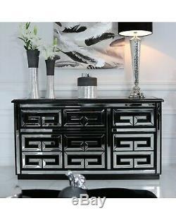 Grecian Black Geo Mirrored Glass Large 3 Door / Drawer Sideboard Dresser Unit