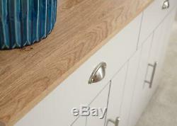 Grey Large Sideboard 3 Door 2 Drawer Storage Cabinet Metal Cup Handles Oak Top