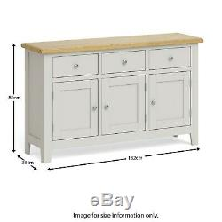 Grey Large Sideboard 3 Door 3 Drawer Wooden Oak Top Cabinet Country Style Lundy