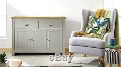 Grey and Oak 3 door 2 Drawer Large Sideboard Lancaster Range
