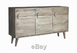 Greyston Solid Wood Large Sideboard with 3 Drawers and 3 Doors in Grey Tone