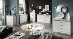 Greystone Grey & White Gloss Sideboard Dresser Storage Chest of Drawers Unit