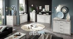 Greystone White Gloss Grey Lounge Furniture Display Cabinets TV Units Sideboards