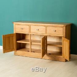 Hampshire Oak Large Sideboard Cabinet Light Solid Wood 3 Doors Drawers Cupboard
