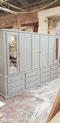 Handmade Aylesbury (grey+silver Handles) 12 Drawers/6 Doors Large Wardrobe Not F