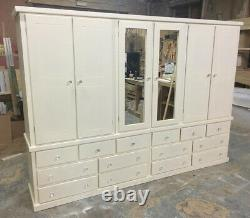 Handmade Dewsbury 6 Door Mirrored Ivory Large 14 Drawer Wardrobe Assembled