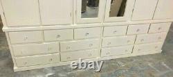Handmade Dewsbury Ivory 6 Door 14 Drawer Mirrored Large New Wardrobe Assembled