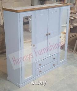Handmade Dewsbury Quad 4 Door 2 Drawer Grey And Dark Oak Mirrored Large Ward