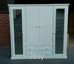 Handmade Dewsbury Quad White 4 Door 2 Drawer Mirrored Large Wardrobe Assembled