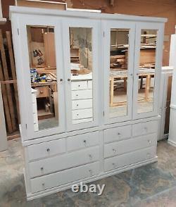 Handmade Dewsbury White Large Quad Mirrored Wardrobe 4 Door 8 Drawer Assembled