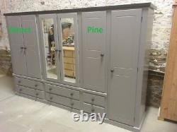 Handmade Shaftesbury Ex Large 6 Door 6 Drawer Robe Grey/2 Tone