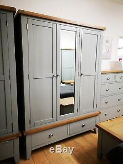 Hartwell Grey Painted Large 3 Door Wardrobe / Triple Mirrored Robe with Drawers