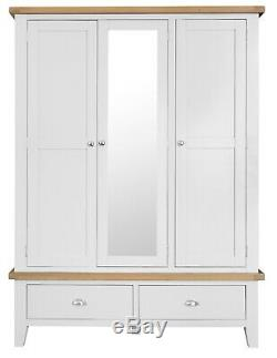 Hartwell White Painted Large 3 Door Wardrobe / Triple Mirrored Robe with Drawers