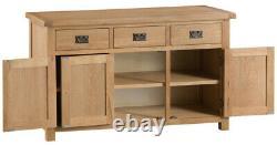 Hereford Large 3 Door 3 Drawer Sideboard / Oak Three Drawer Three Door Buffet