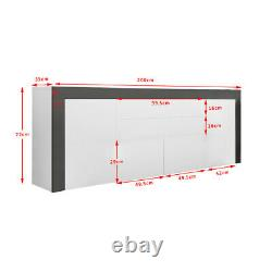 High Gloss Large Sideboard Cabinet with 2 Doors 2 Drawers & 1 Flaps Cupboard