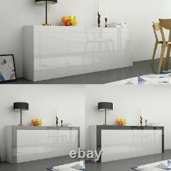 High Gloss Large Sideboard Cabinet with 2 Doors 2 Drawers & 1 Flaps Cupboard UK