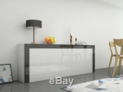 High Gloss Large Sideboard Cabinet with 2 Doors 2 Drawers & 2 Flaps Black White