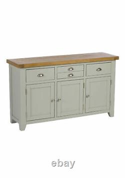 Highland Grey 3 Door, 3 Drawer Large Sideboard Storage Cabinet with Drawers