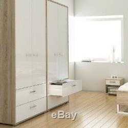 Homeline Tall Large Wardrobe 2 Doors 2 Drawers in Oak & White High Gloss Bedroom