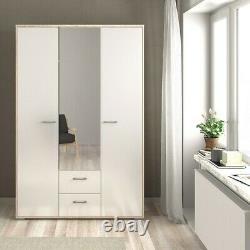 Homeline Tall Large Wardrobe 3 Doors 2 Drawers in Oak & White High Gloss Bedroom