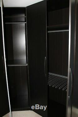 IKEA PAX Large Corner Wardrobe Black Brown Mirror Door Shelves Rails Drawers