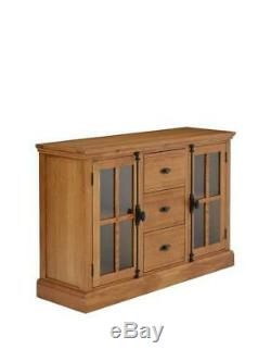Ideal Home Whitford Solid Wood Ready Assembled 2 Door, 3 Drawer Large Sideboard