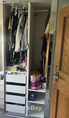 Ikea Pax Large Wardrobe Sliding Doors Mirror/Frost Rails & Drawers 236cm Height