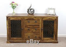 Indian Jali Large Sideboard 2 Door 3 Drawer Solid Sheesham by Mercers Furniture