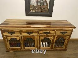 Indian Jali Large Sideboard 4 Door 4 Drawer Solid Sheesham by Mercers Furniture