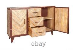 Industrial Mango Wood & Metal Frame 2 Door & 3 Drawers V Design Large Sideboard