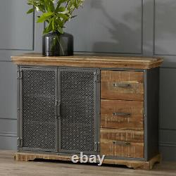 Industrial Reclaimed Metal Frame and Wood 3 Drawers and 2 Door Large Sideboard