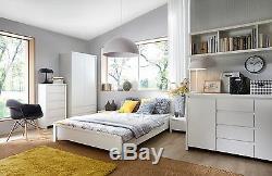 Kaspian New Triple Wardrobe with drawers 3 Door Mirror White Matt Large Modern