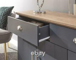 Kendal Large Sideboard with 3 Doors & 2 Drawers Modern Slate Blue