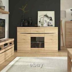 Kensington Large Glazed Oak Sideboard Unit 3 Door 3 Drawers Handle Free Design