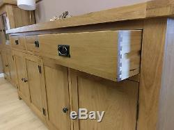 Kingsford Solid Oak Large Wide 4 Door 3 Drawer Sideboard 200cm 45cm 100cm