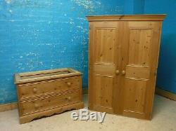 LARGE CHUNKY RUSTIC SOLID WOOD 2DOOR 2DRAWER WARDROBE 207x103cm -VISIT OUR SHOP
