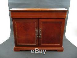 LARGE Dresser Top Jewelry Trinket Box with 8 drawers n 2 doors mirror top