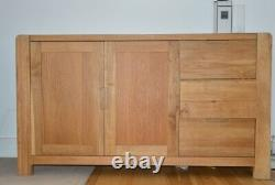 LARGE Long Solid Wood Sideboard 3 drawers 2 doors Oak Furniture Vintage Style