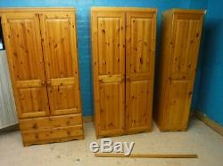 LARGE SOLID WOOD 5DOOR 2DRAWER WARDROBE H181 W215 D52cm -VISIT OUR WAREHOUSE