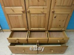 LARGE SOLID WOOD TRIPLE 3DOOR 5DRAWER WARDROBE H200 W131cm SEE OUR SHOP