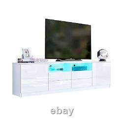 LED TV Unit Cabinet High Gloss Sideboard Large Storage With 2 Doors 2 Drawers