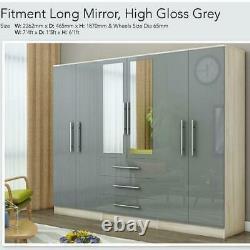 LOWEST SALE PRICE Large 6 Door High Gloss Mirrored wardrobe Grey 3 Drawer