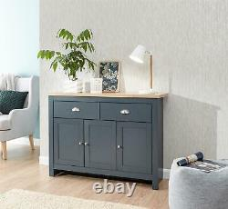 Lancaster Large Sideboard Storage Unit Drawer 3 Door Cupboard Cabinet Slate Blue