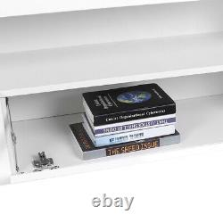 Large 160cm TV Unit Cabinet Stand Matt Body & High Gloss Door 2 Drawers FREE LED