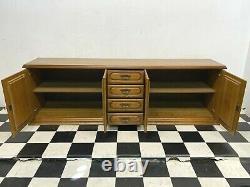 Large 2.4m vintage German oak four door four drawer sideboard dresser cabinet