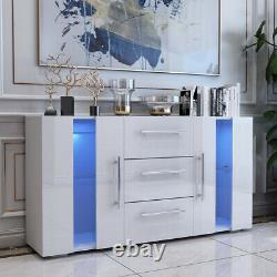 Large 2 Doors 3 Drawers Sideboard High Gloss White Cupboard Cupboard LED Lights