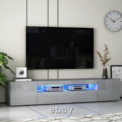Large 200CM TV Unit Cabinet Sideboard High Gloss 3 Doors Long Drawer & LED Light