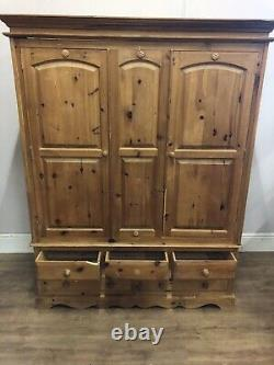 Large 3 Door Solid Pine Wardrobe With 5 Drawers Below See All Pics