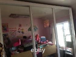 Large 3 mirror sliding doors wardrobe white with drawers shelves storage