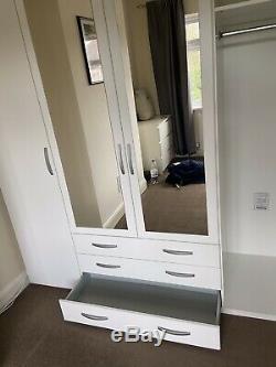 Large 4 Door 3 Drawer Mirrored Wardrobe White